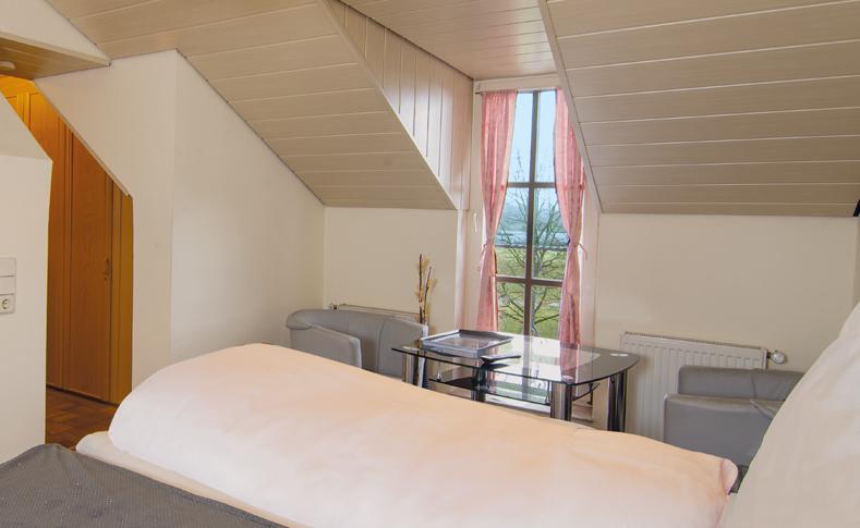Zimmer mit Rheinblick im Apartment Hotel Zum Bergischen Hof in Zons am Rhein